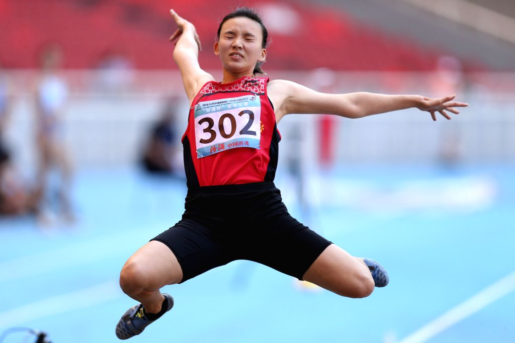 TAIYUAN, Aug. 16, 2019 - Gong Luying of Zhejiang Province Delegation competes during women's long jump final at the 2nd Youth Games of the People's Republic of China in Taiyuan, north China's Shanxi ...