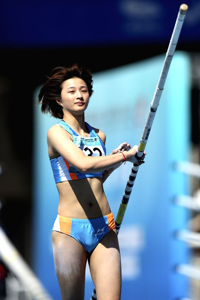TAIYUAN, Aug. 16, 2019 - She Chenyao of Anhui Province Delegation competes during the women's pole vault final at the 2nd Youth Games of the People's Republic of China in Taiyuan, north China's ...