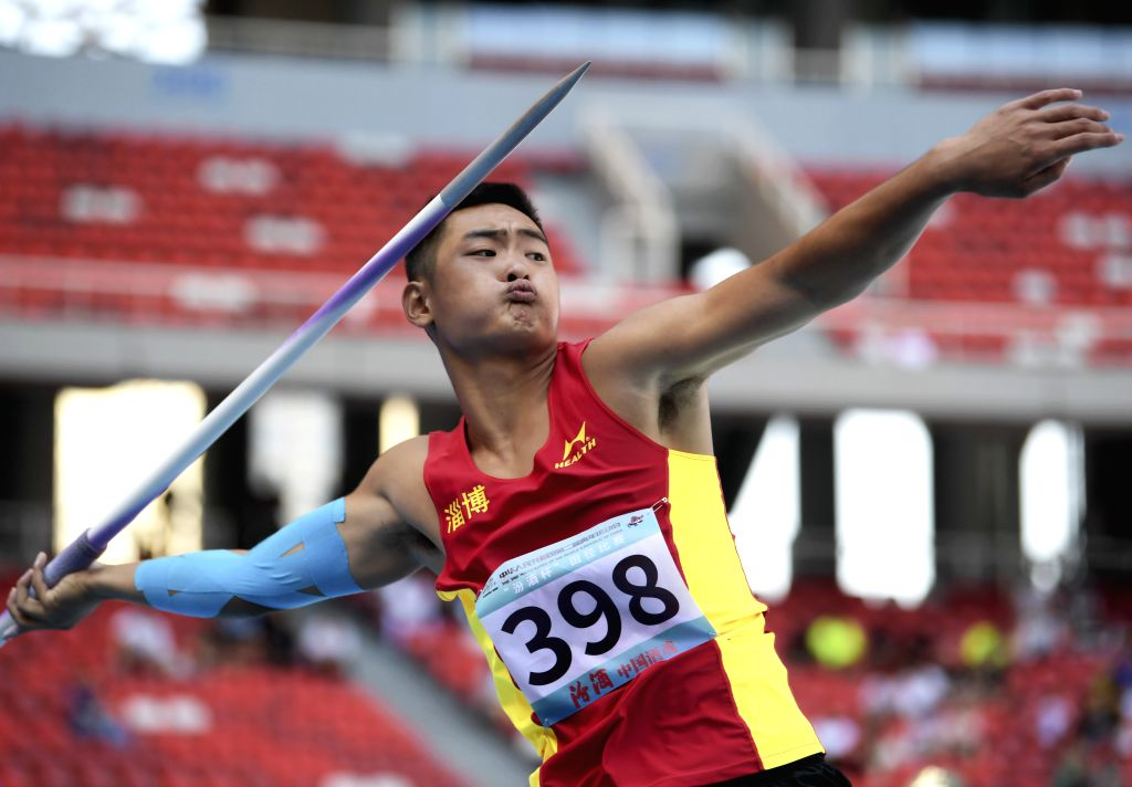 TAIYUAN, Aug. 16, 2019 - Wang Cong of Shandong Province Delegation competes during the men's javelin throw final at the 2nd Youth Games of the People's Republic of China in Taiyuan, north China's ...
