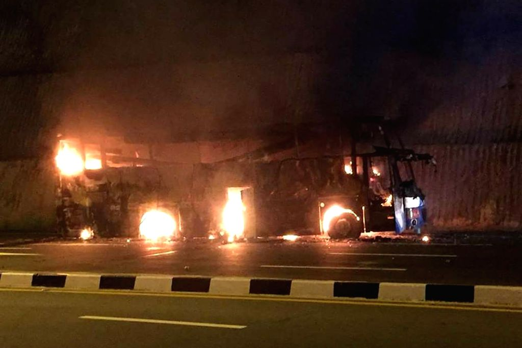 TAK : March 30,  The site of a bus blaze is seen in the northwestern Thai province of Tak, March 30, 2018. At least 20 Myanmar migrant workers were killed and three others wounded in a blaze ...