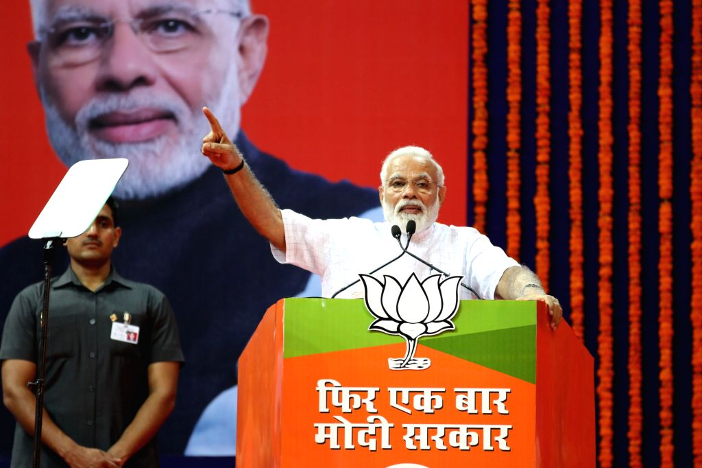 Taleigao plateau: Prime Minister Narendra Modi addresses during a rally at Shyama Prasad Mukherjee stadium in Taleigao plateau in Goa on April 10, 2019. - Narendra Modi and Shyama Prasad Mukherjee