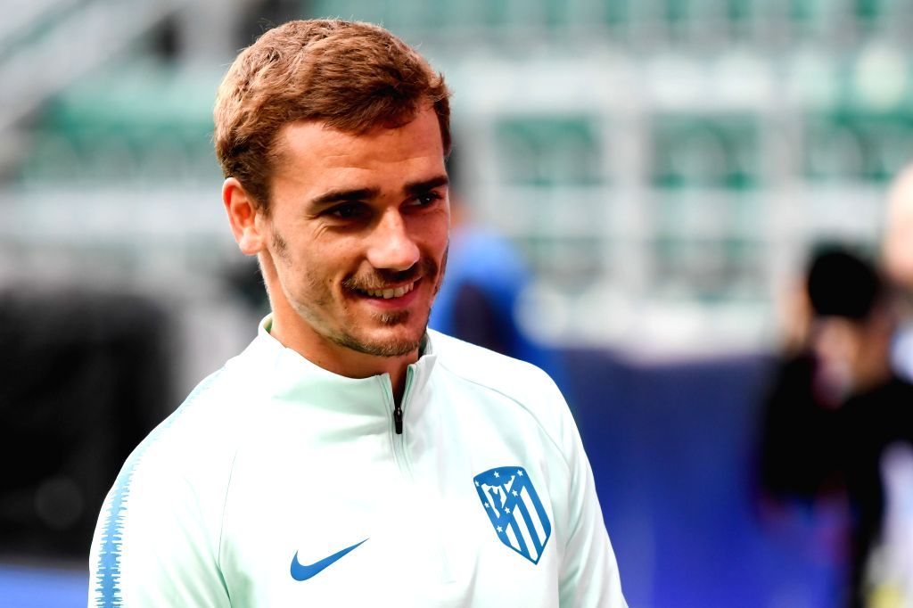 TALLINN, Aug. 15, 2018 (Xinhua) -- Antoine Griezmann of Atletico Madrid attends a training session at the Lillekula Stadium in Tallinn, Estonia, Aug. 14, 2018. The UEFA Super Cup match between Real Madrid and Atletico Madrid will be held here on Aug.