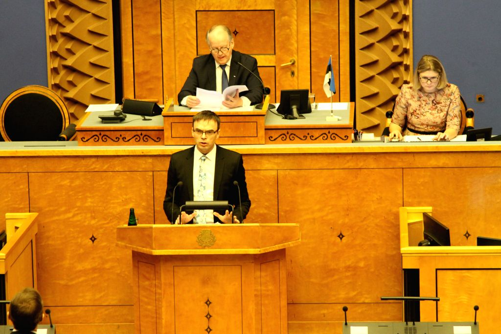TALLINN, Feb. 12, 2019 - Estonian Foreign Minister Sven Mikser (Front) delivers his annual speech on foreign policy at the Estonian parliament Riigikogu in Tallinn, capital of Estonia, on Feb. 12, ... - Sven Mikser