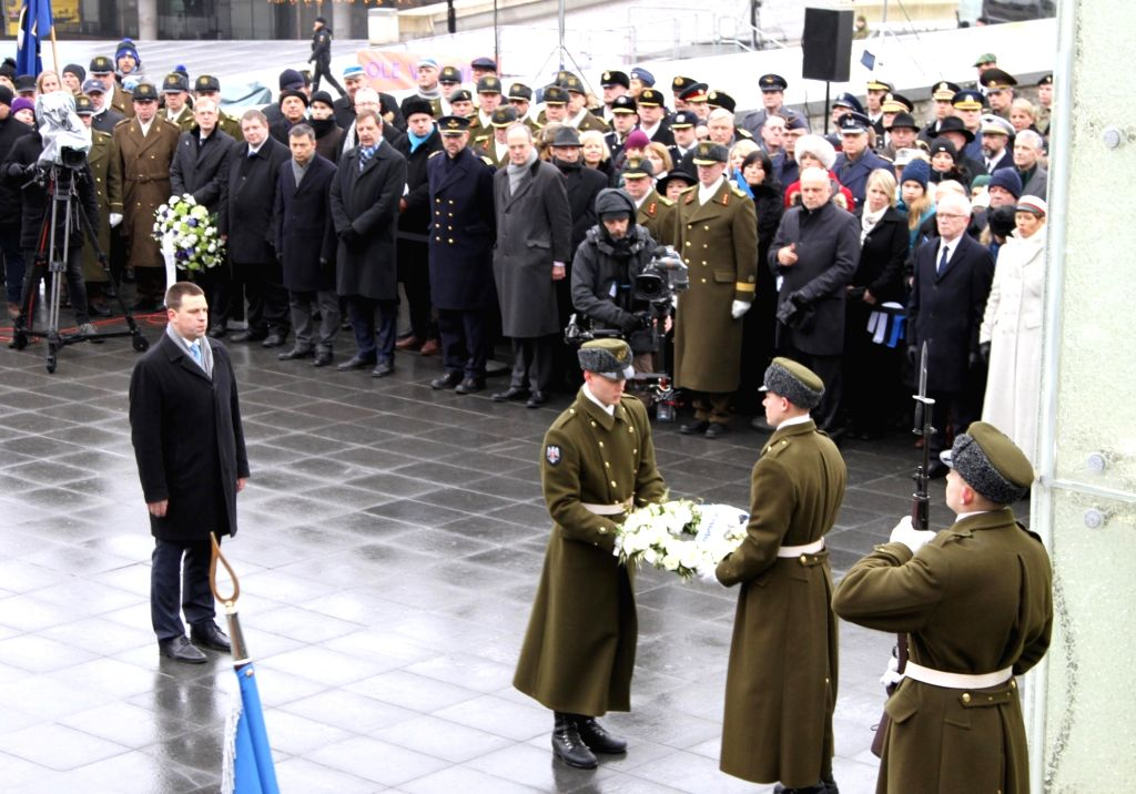 TALLINN, Feb. 24, 2019 - Estonian President Kersti Kaljulaid (2nd L) attends a wreath laying ceremony at the Memorial to the War of Independence in Tallinn, Estonia, Feb. 24, 2019. Celebrations were ...