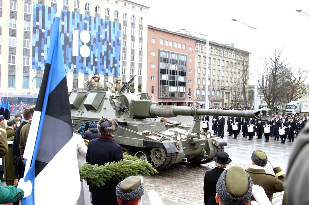 TALLINN, Feb. 24, 2019 - Military officers and soldiers attend a parade for the 101st anniversary of the Estonian independence in Tallinn, Estonia, on Feb. 24, 2019. Celebrations were held here on ...