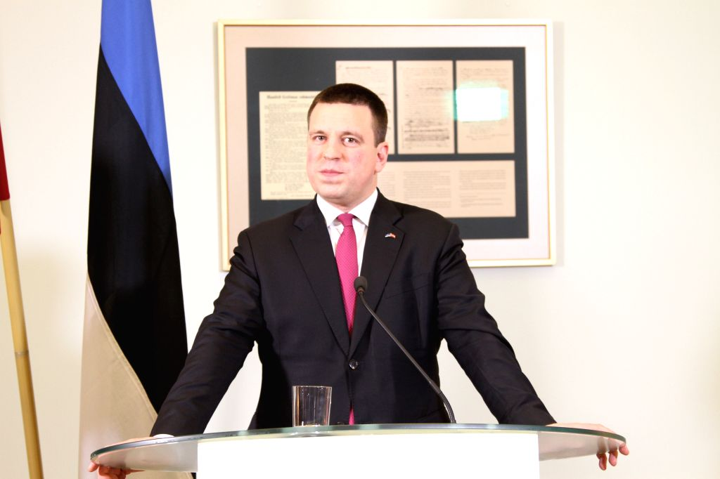 TALLINN, Feb. 8, 2019 - Estonian Prime Minister Juri Ratas attends a joint press conference with his Latvian counterpart Krisjanis Karins (not in the picture) in Tallinn, capital of Estonia, on Feb. ... - Juri Ratas
