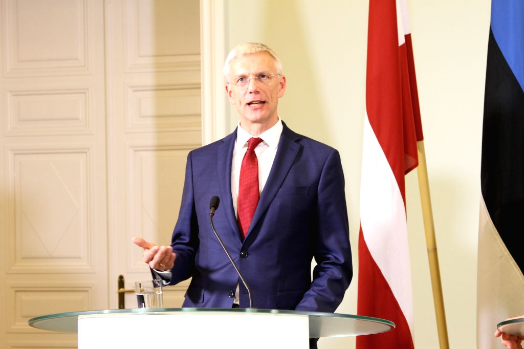 TALLINN, Feb. 8, 2019 - Latvian Prime Minister Krisjanis Karins attends a joint press conference with his Estonian counterpart Juri Ratas (not in the picture) in Tallinn, capital of Estonia, on Feb. ... - Krisjanis Karins