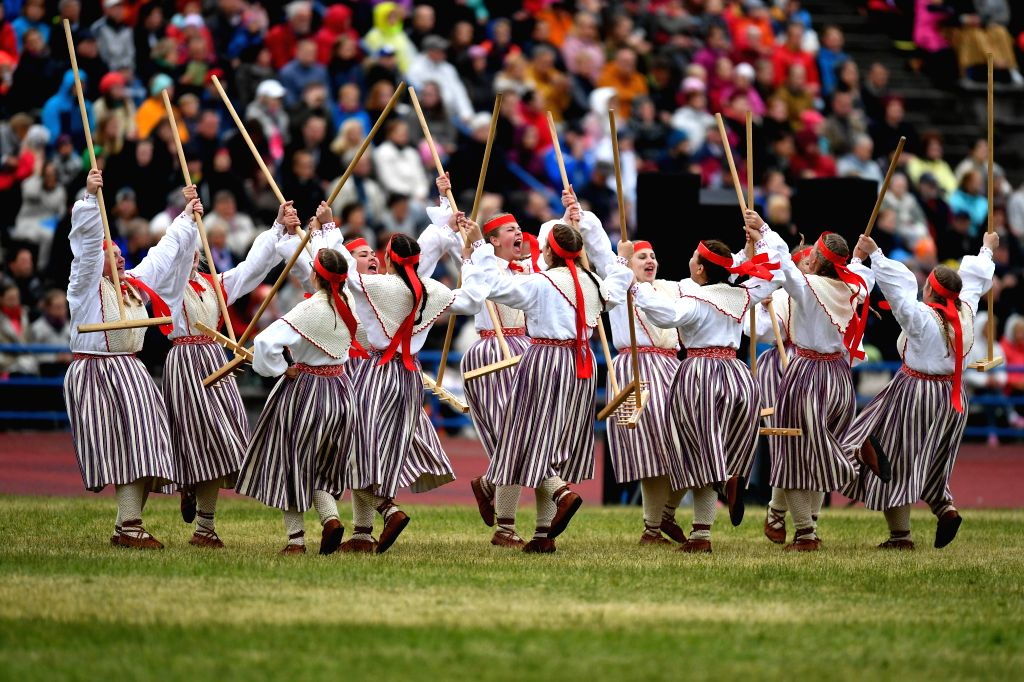 TALLINN, July 2, 2017 - Youth dancers in traditional folk costumes perform during the dance celebration of the Song and Dance Celebration in Tallinn, Estonia, July 1, 2017. About 8,000 performers ...