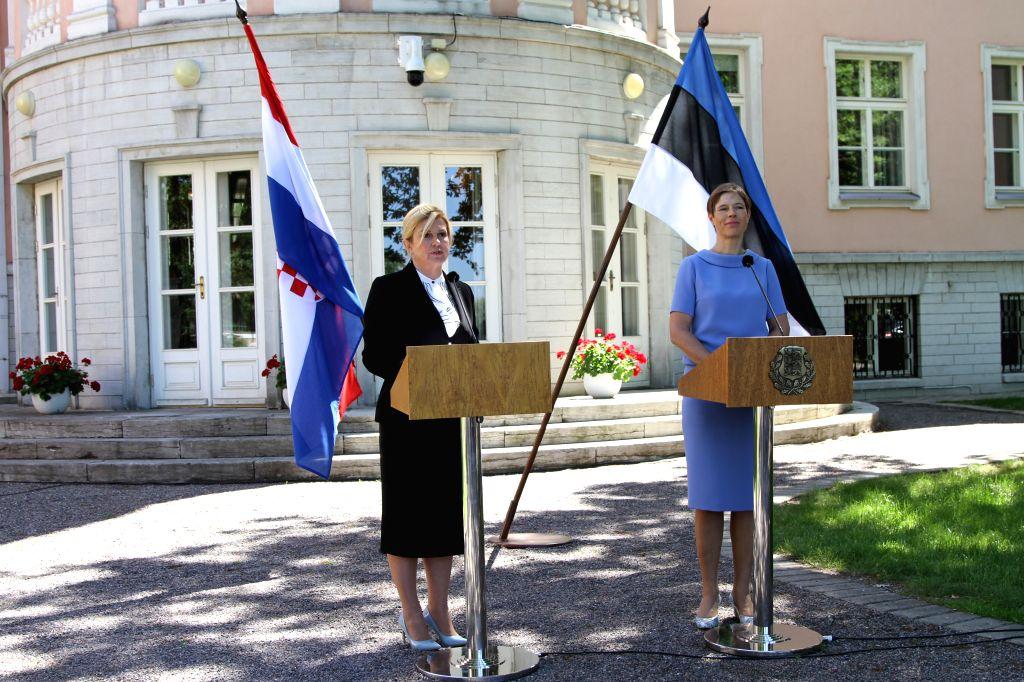 TALLINN, June 18, 2019 - Estonian President Kersti Kaljulaid (R) and her Croatian counterpart Kolinda Grabar-Kitarovic hold a joint press conference in Tallinn, Estonia, June 18, 2019. Estonian ...