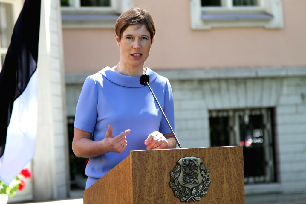 TALLINN, June 18, 2019 - Estonian President Kersti Kaljulaid speaks at a joint press conference with her Croatian counterpart Kolinda Grabar-Kitarovic (not in photo) in Tallinn, Estonia, June 18, ...