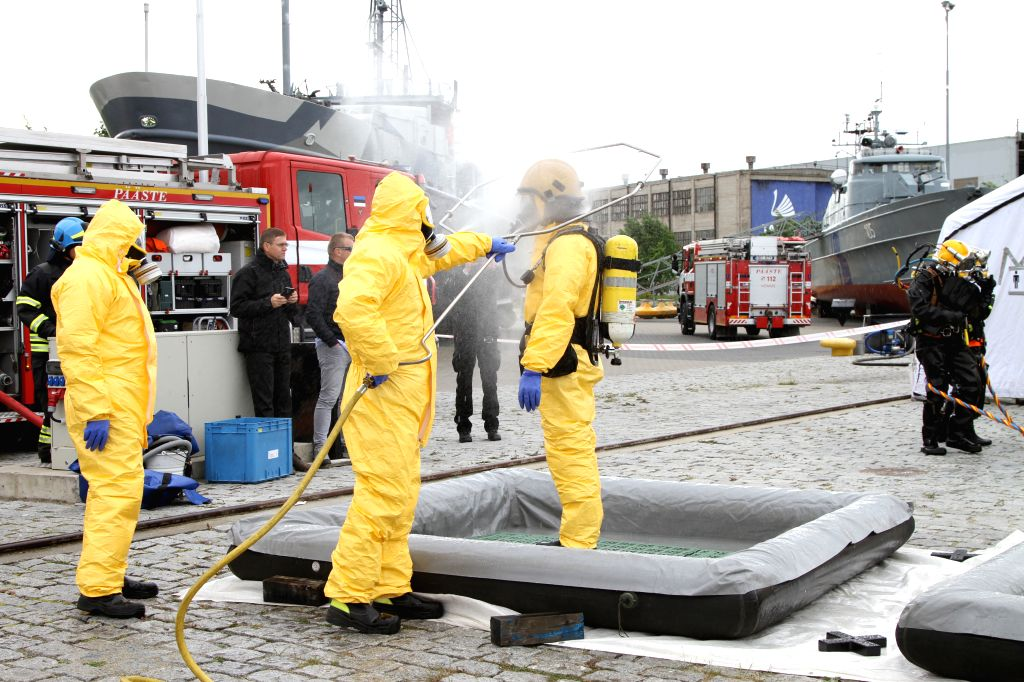 TALLINN, June 5, 2018 - Chemicals decontamination personnel take part in rescue operation and chemicals decontamination exercise at the Seaplane harbour in Tallinn, capital of Estonia, on June 5, ...