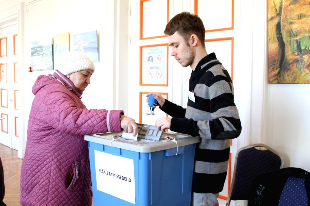 TALLINN, March 3, 2019 - A voter casts a ballot at a polling station at a culture center in Keila, a town in northwestern Estonia, on March 3, 2019. Voting of Estonian parliamentary election at ...