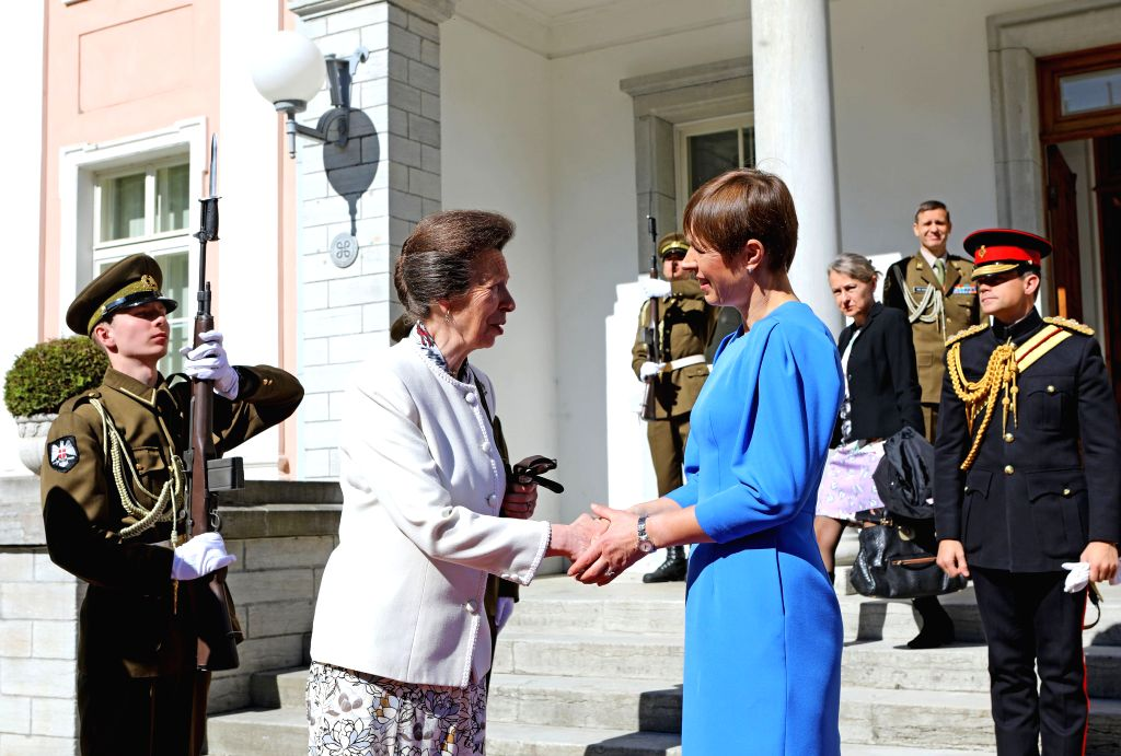 TALLINN, May 31, 2019 - Estonian President Kersti Kaljulaid (R, front) shakes hands with Princess Anne, the Princess Royal of Britain, in Tallinn, Estonia, May 30, 2019. Estonian President Kersti ...