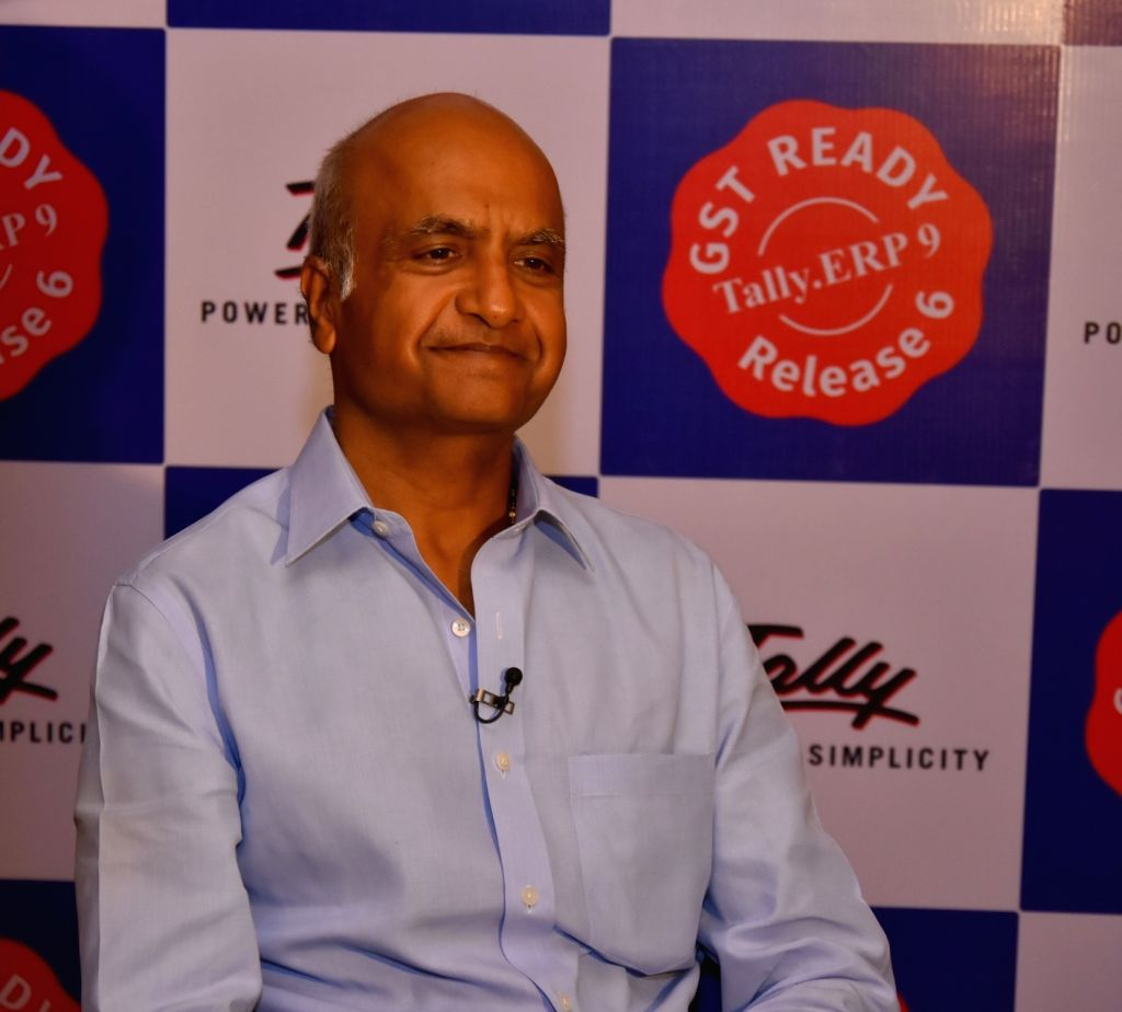 """Tally Solutions Managing Director Bharat Goenka during the launch of """"Tally.ERP 9 release 6.0 - Complete GST Solutions"""" in New Delhi on June 22, 2017. - Goenka"""