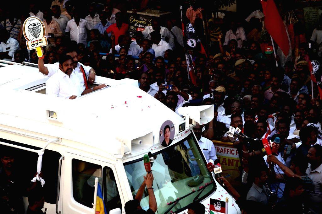 Tamil Nadu Chief Minister and AIADMK leader Edappadi K. Palaniswami during a roadshow ahead of 2019 Lok Sabha elections, in Chennai on March 25, 2019.