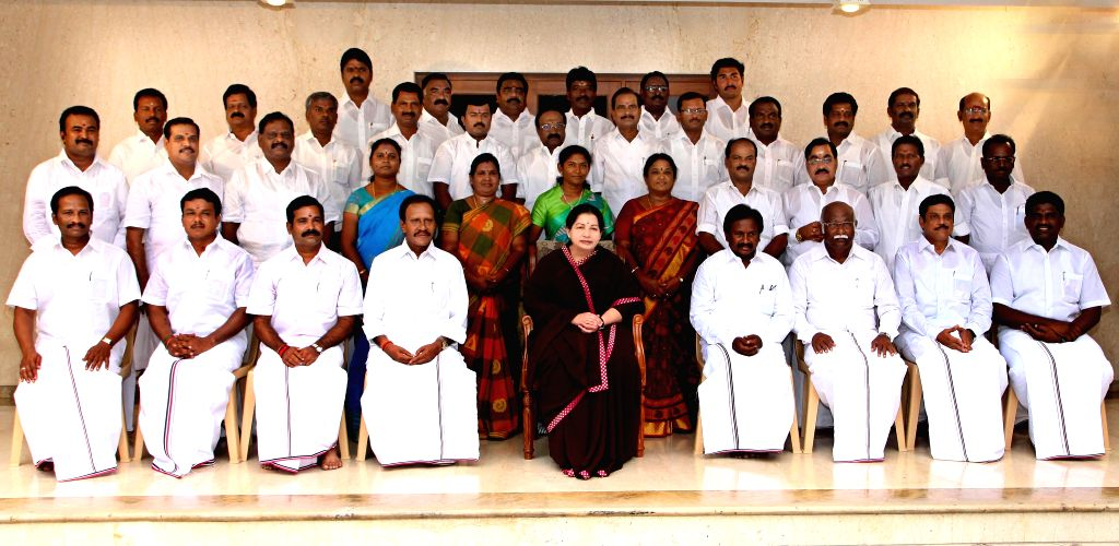 Tamil Nadu Chief Minister and AIADMK supremo J Jayalalitha with party's newly elected Lok Sabha MPs at her residence in Chennai on May 18, 2014.