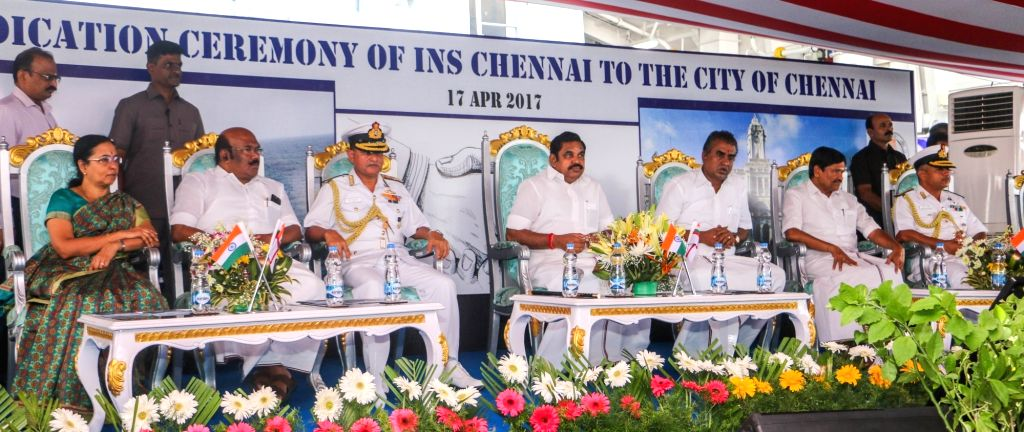 Tamil Nadu Chief Minister Edappadi K Palanisamy and Eastern Naval Command chief, Vice Admiral H C S Bisht during a programme organised to hand over INS Chennai to the Chennai port on April ... - Edappadi K Palanisamy