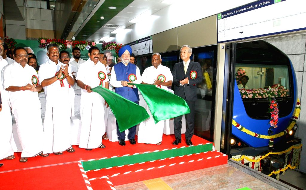 Tamil Nadu Chief Minister Edappadi K Palaniswami, Union Minister Hardeep Singh Puri and Tamil Nadu Deputy Chief Minister O. Panneerselvam inaugurate  two underground stretches of Chennai ... - Edappadi K Palaniswami and Hardeep Singh Puri