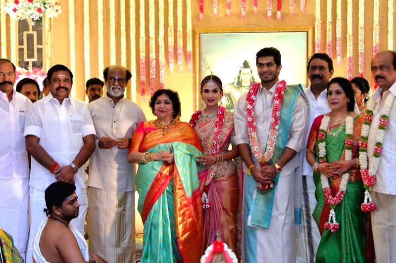 Tamil Nadu chief minister Edappadi K Palaniswami at the wedding of actor Rajinikanth's daughter Soundarya and Vishagan Vanangamudi in Chennai on Feb 10, 2019. - Edappadi K Palaniswami