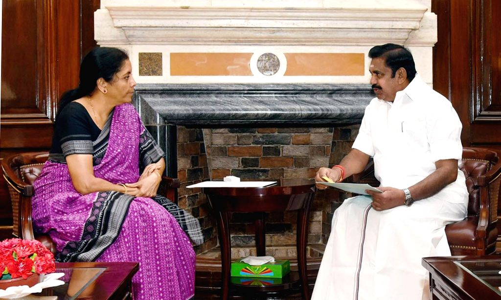 Tamil Nadu Chief Minister Edappadi K. Palaniswami meets Union Finance and Corporate Affairs Minister Nirmala Sitharaman, in New Delhi on June 15, 2019. - Edappadi K. Palaniswami