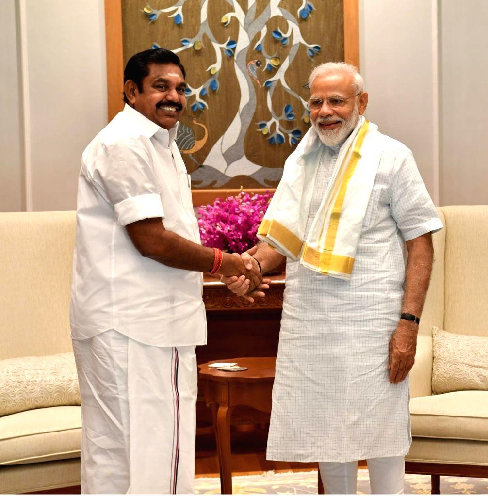 Tamil Nadu Chief Minister Edappadi K. Palaniswami meets Prime Minister Narendra Modi, in New Delhi on June 15, 2019. - Edappadi K. Palaniswami and Narendra Modi