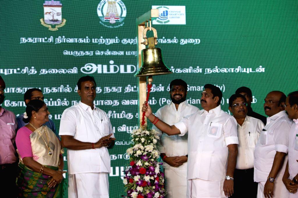 Tamil Nadu Chief Minister Edappadi K Palaniswami during the inauguration of the T Nagar pedestrian plaza in Chennai on Nov 13, 2019. - Edappadi K Palaniswami