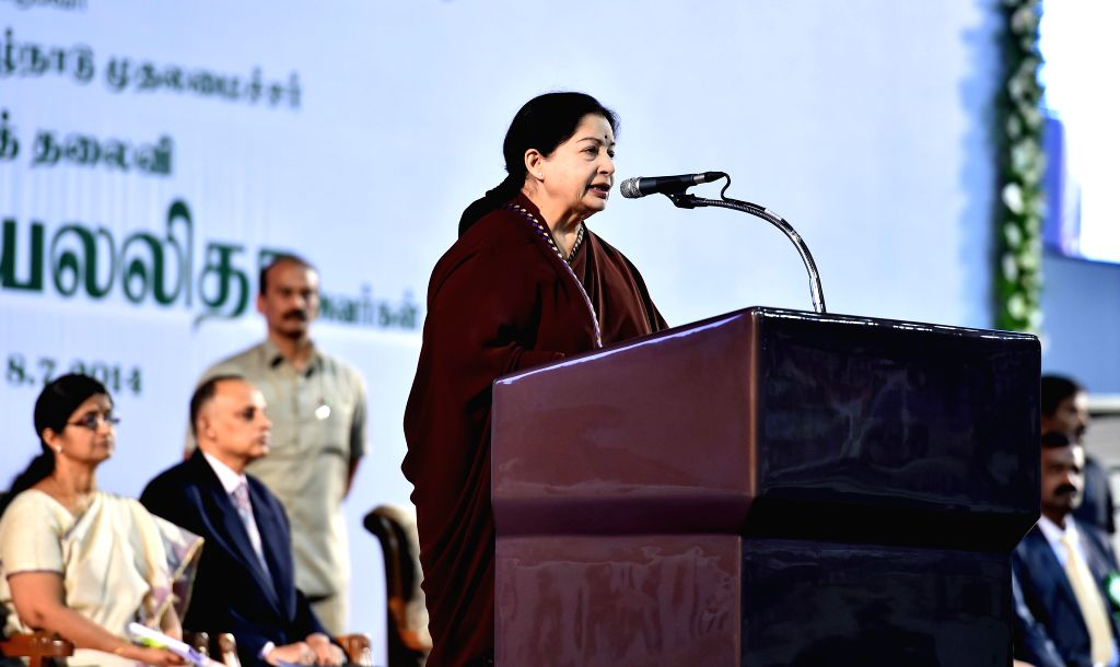 Tamil Nadu Chief Minister J Jayalalithaa addresses during a programme organised to felicitate personnel from multiple government agencies who were involved in rescue operations at the site where a ... - J Jayalalithaa