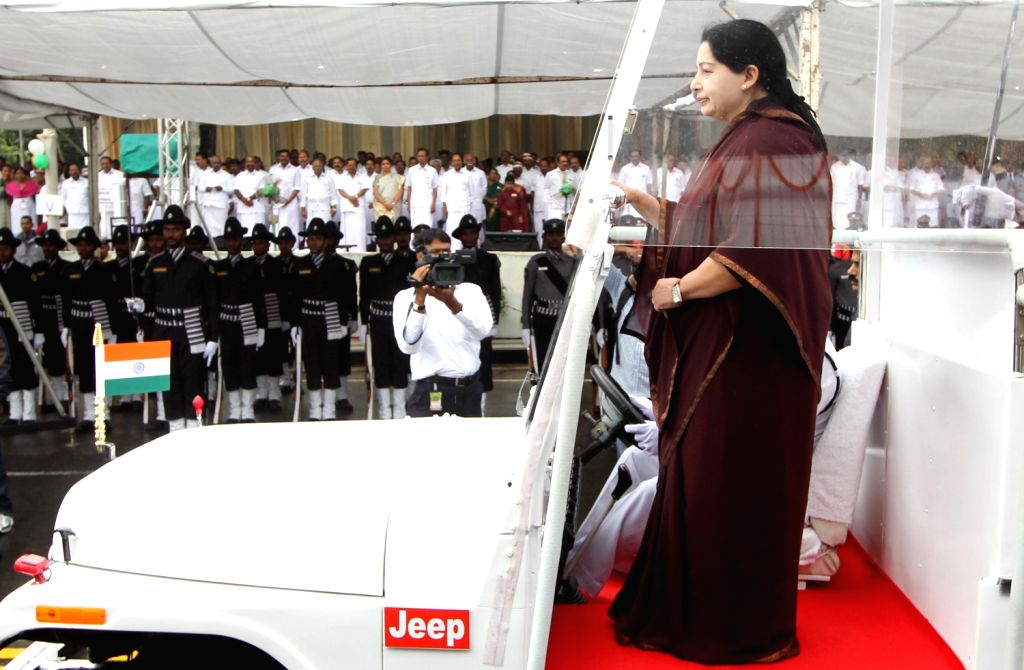 Tamil Nadu Chief Minister J Jayalalithaa inspecting the guard of honour during the 67th Independence Day function at Fort St George, housing the state secretariat, in Chennai on August 15, 2013. ...