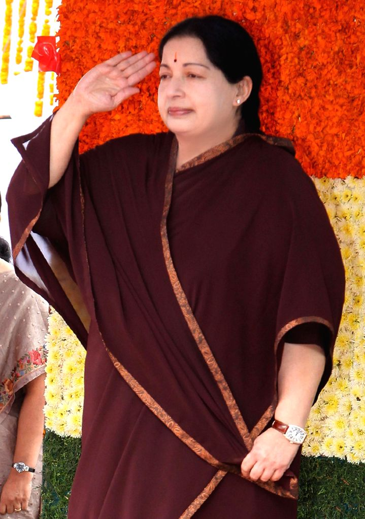 Tamil Nadu Chief Minister J Jayalalithaa during the 67th Independence Day function at Fort St George in Chennai on August 15, 2013. (Photo::: IANS)