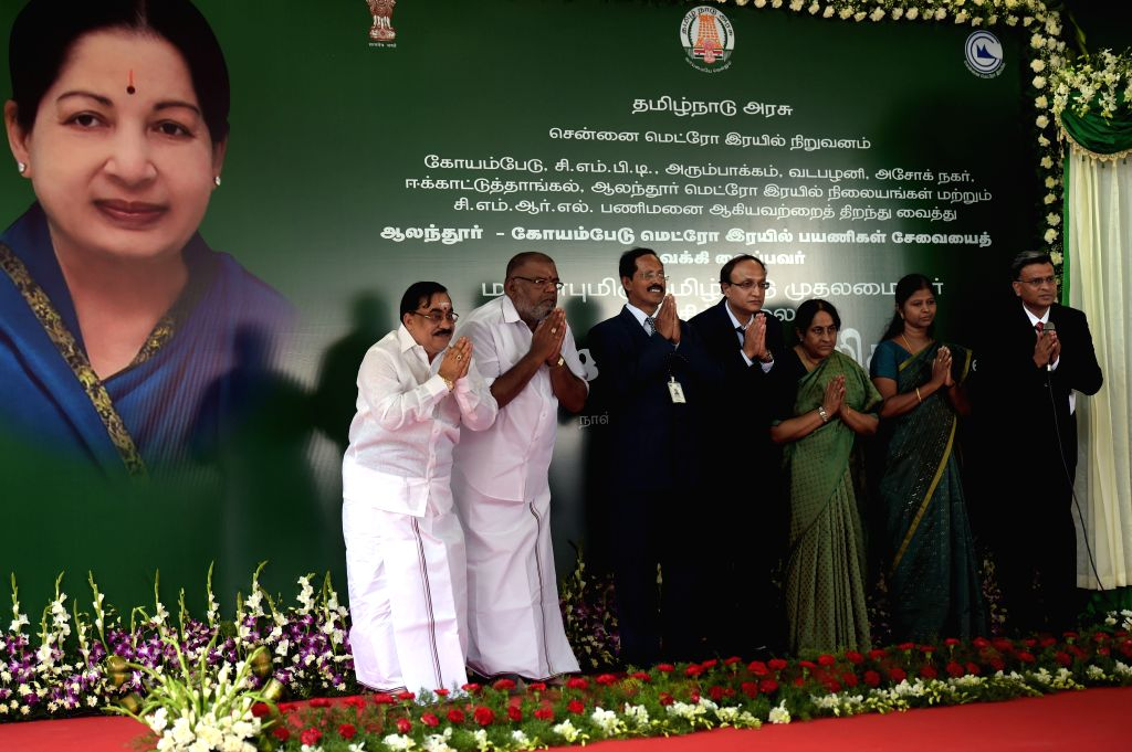 Tamil Nadu chief minister J Jayalalithaa flagged of Chennai Metro Rail Limited`s passenger services between Alandur and Koyambedu through video conferencing from the secretariat, in Chennai ... - J Jayalalithaa