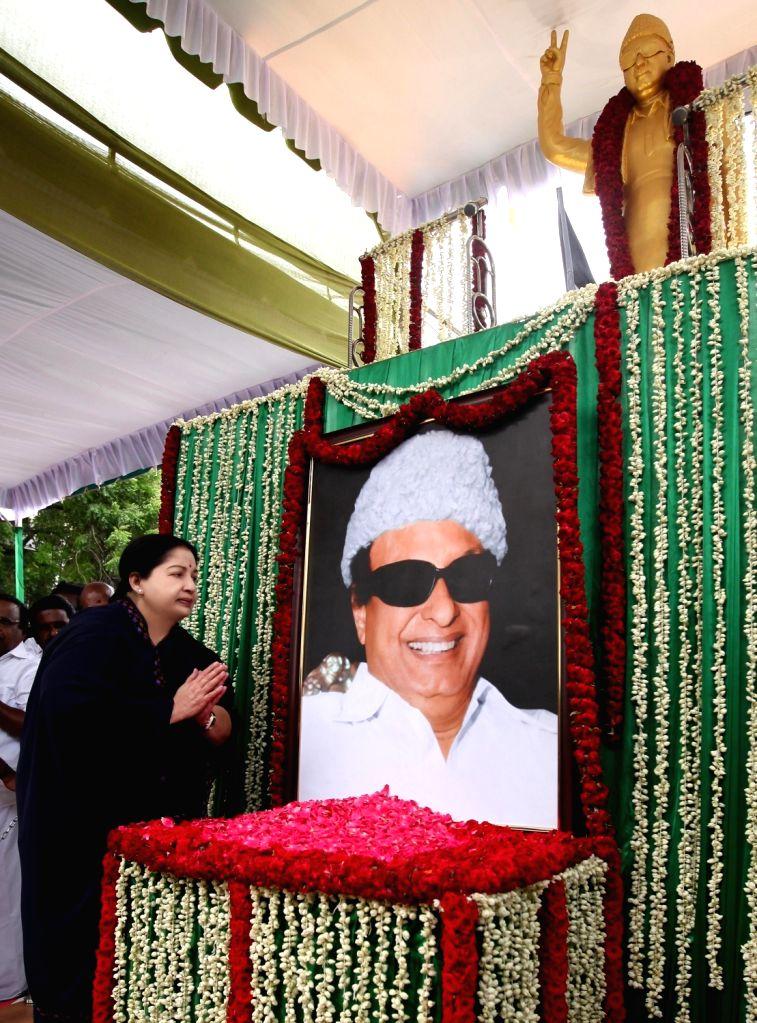 Tamil Nadu Chief Minister J Jayalalithaa  pays tribute to M. G. Ramachandran in Chennai, on May 20, 2016. - J Jayalalithaa