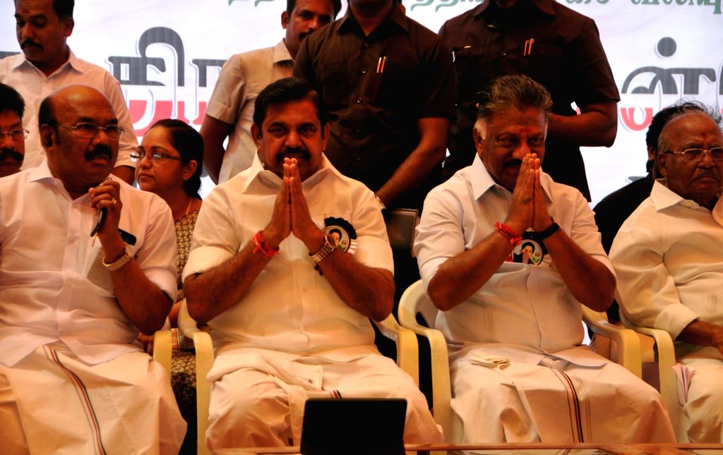 Tamil Nadu Chief Minister K. Palaniswami, Deputy Chief Minister O. Panneerselvam and AIADMK leaders participate in a one-day hunger strike called by the state's ruling party against the ... - K. Palaniswami