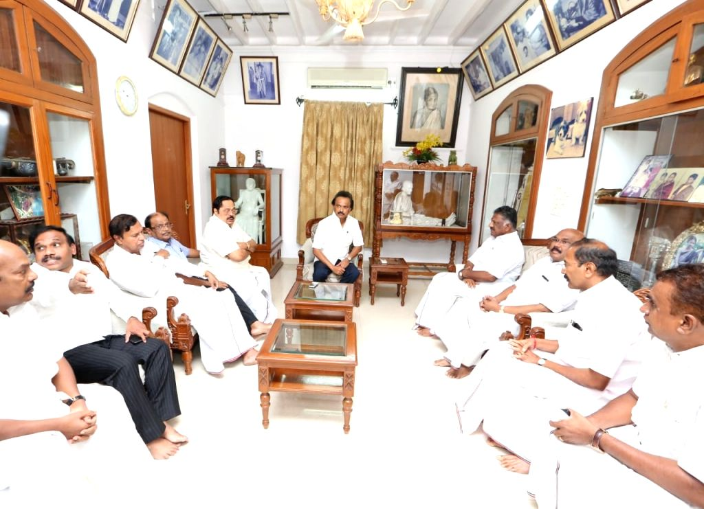 Tamil Nadu Deputy Chief Minister O. Panneerselvam meets DMK working president M.K. Stalin in Chennai on July 26, 2018. - O. Panneerselvam