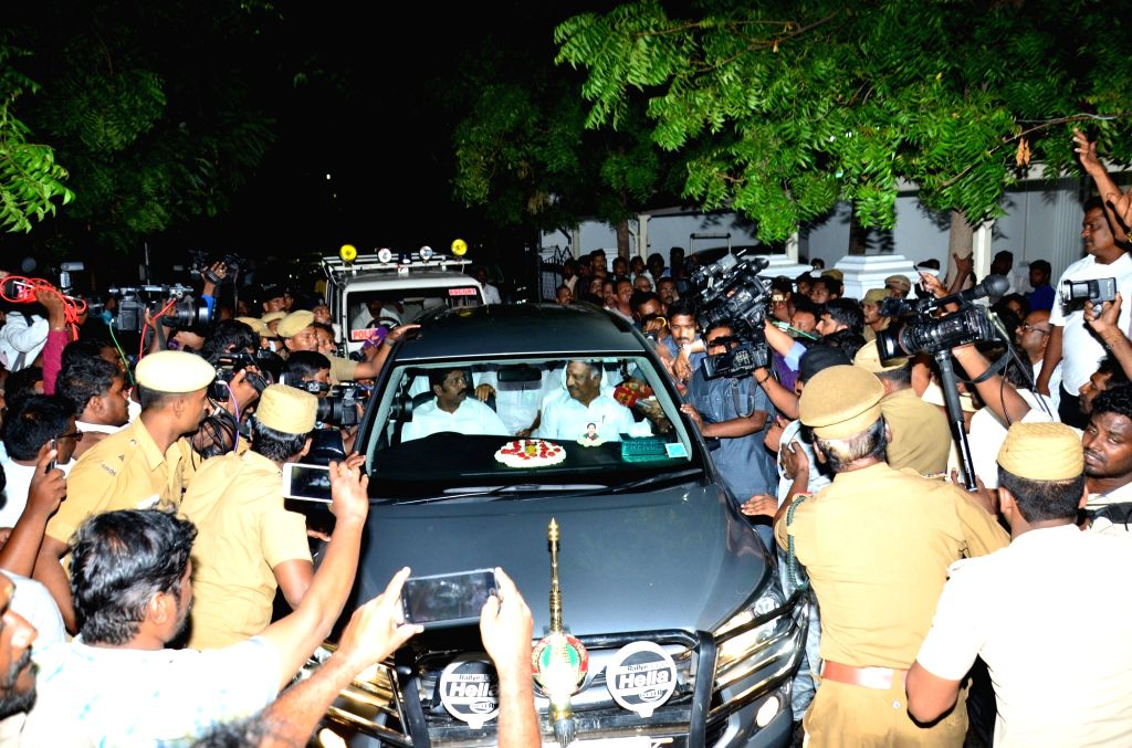 Tamil Nadu Deputy Chief Minister O. Panneerselvam at Gopalapuram residence of DMK president M. Karunanidhi where doctors are treating the latter for fever due to a urinary tract infection, ... - O. Panneerselvam