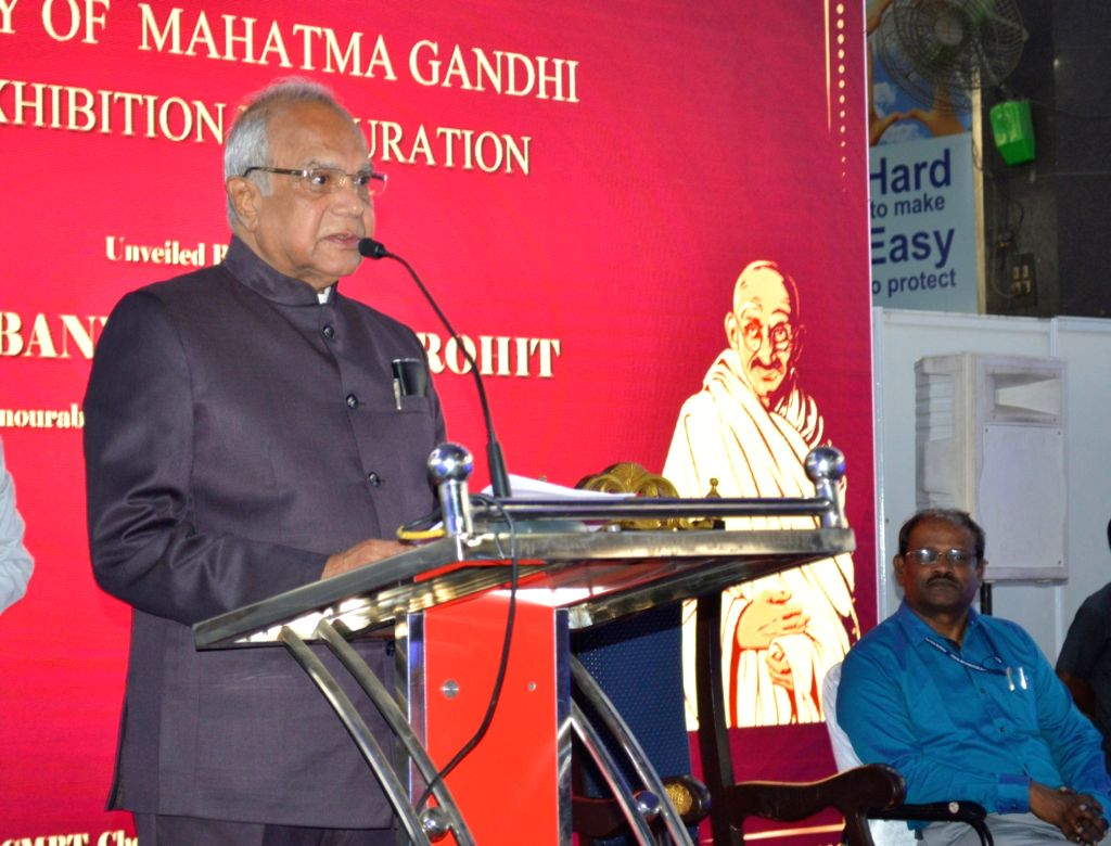 """Tamil Nadu Governor Banwarilal Purohit addresses after inaugurating the Photo and Digital Exhibition on """"Mahatma Gandhi – Life History"""" on the occasion of Mahatma Gandhi's 150th ..."""
