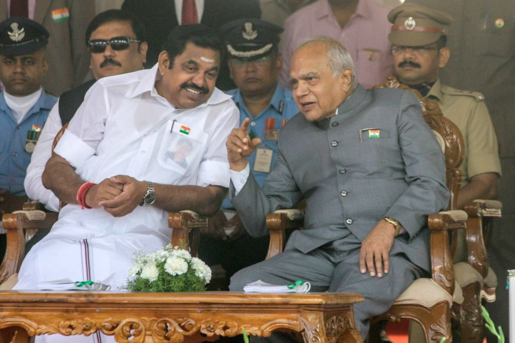 Tamil Nadu Governor Banwarilal Purohit and Chief Minister K. Palaniswami during Republic Day celebrations in Chennai on Jan 26, 2018. Also seen with Chief Minister K. Palaniswami. - K. Palaniswami