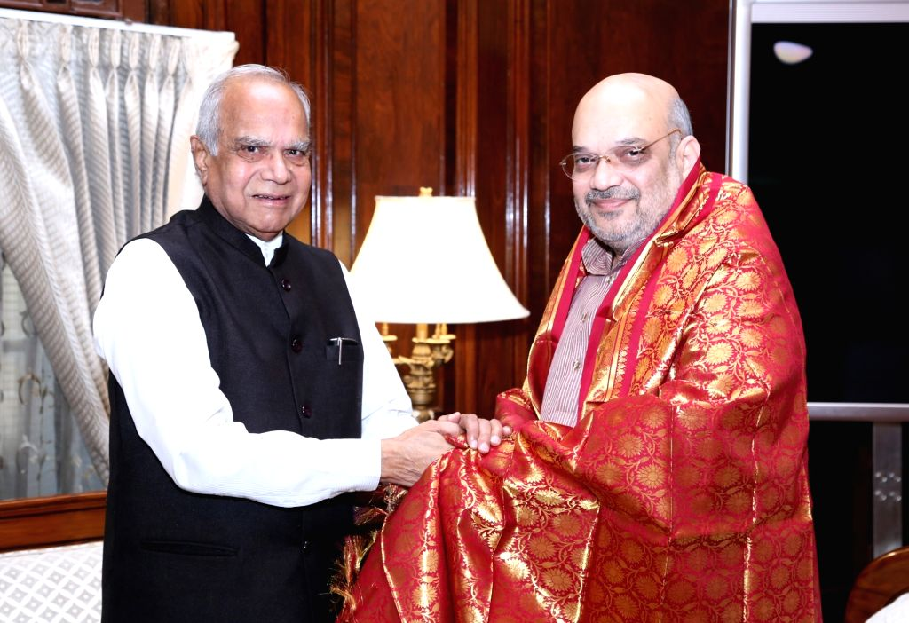 Tamil Nadu Governor Banwarilal Purohit calls on Union Home Minister Amit Shah, in New Delhi on Aug 9, 2019. - Amit Shah
