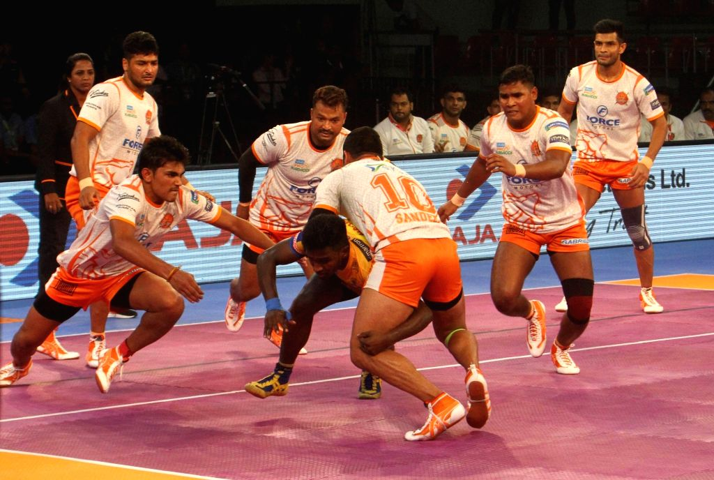 Tamil Thalaivas All Rounder D Pradap in action during a Pro Kabaddi League 2017 match between Puneri Paltan and Tamil Thalaivas in Chennai, on Sept 29, 2017.
