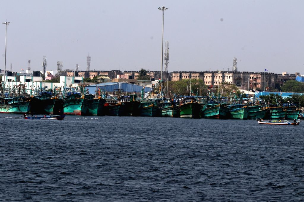 Tamilnadu government has announced the 45 days fishing ban. All the ships have been docked in the Kasimedu fishing harbour in Chennai On Monday, 19th 2021.