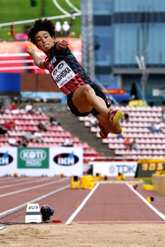 TAMPERE, July 12, 2018 - Yuki Hashioka of Japan competes during the men's long jump event at the IAAF (International Association of Athletics Federations) World U20 Championships in Tampere, Finland, ...