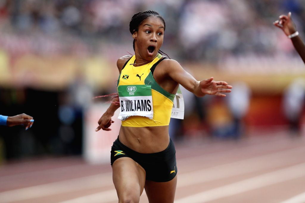 TAMPERE, July 13, 2018 - Briana Williams from Jamaica competes during the women's 100 meters final at the IAAF (International Association of Athletics Federations) World U20 Championships in Tampere, ...