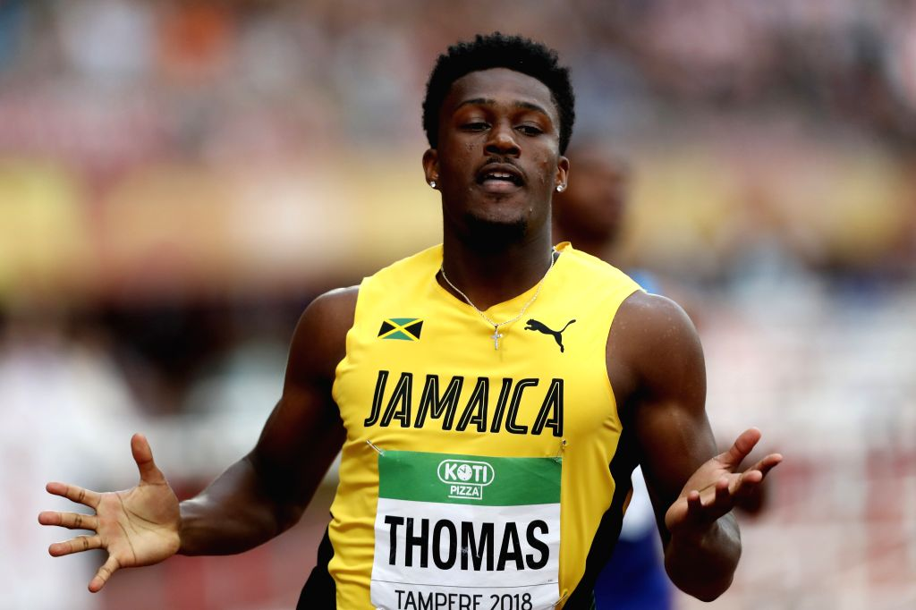 TAMPERE, July 13, 2018 - Damion Thomas from Jamaica competes during the 110 meters hurdles (99.0cm) final at the IAAF (International Association of Athletics Federations) World U20 Championships in ...