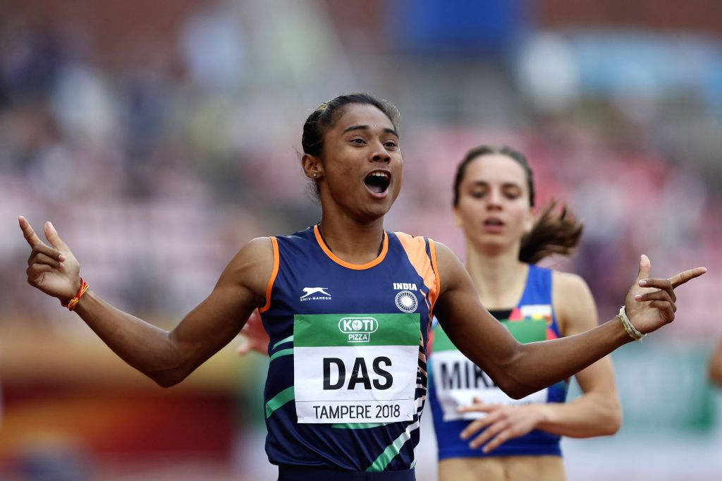 TAMPERE, July 13, 2018 - Hima Das from India competes during the women's 400 meters final at the IAAF (International Association of Athletics Federations) World U20 Championships in Tampere, Finland ...