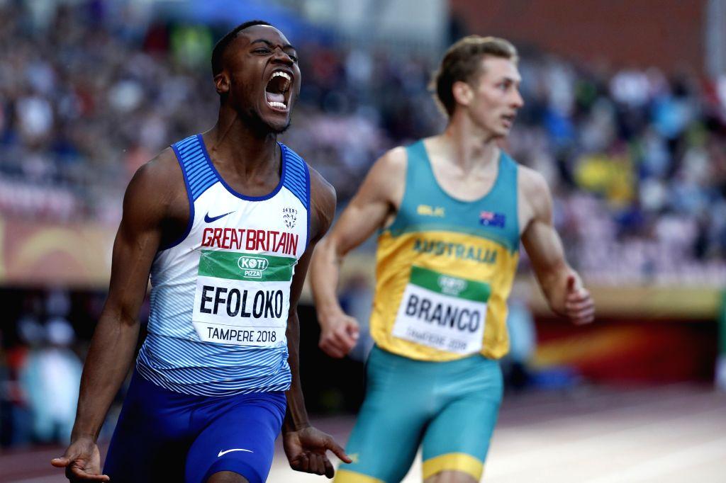 TAMPERE, July 14, 2018 - Jona Efoloko (L) of Britain celebrates after winning men's 200 meters at the IAAF  World U20 Championships in Tampere, Finland on July 13, 2018. Efoloko won the gold medal ...