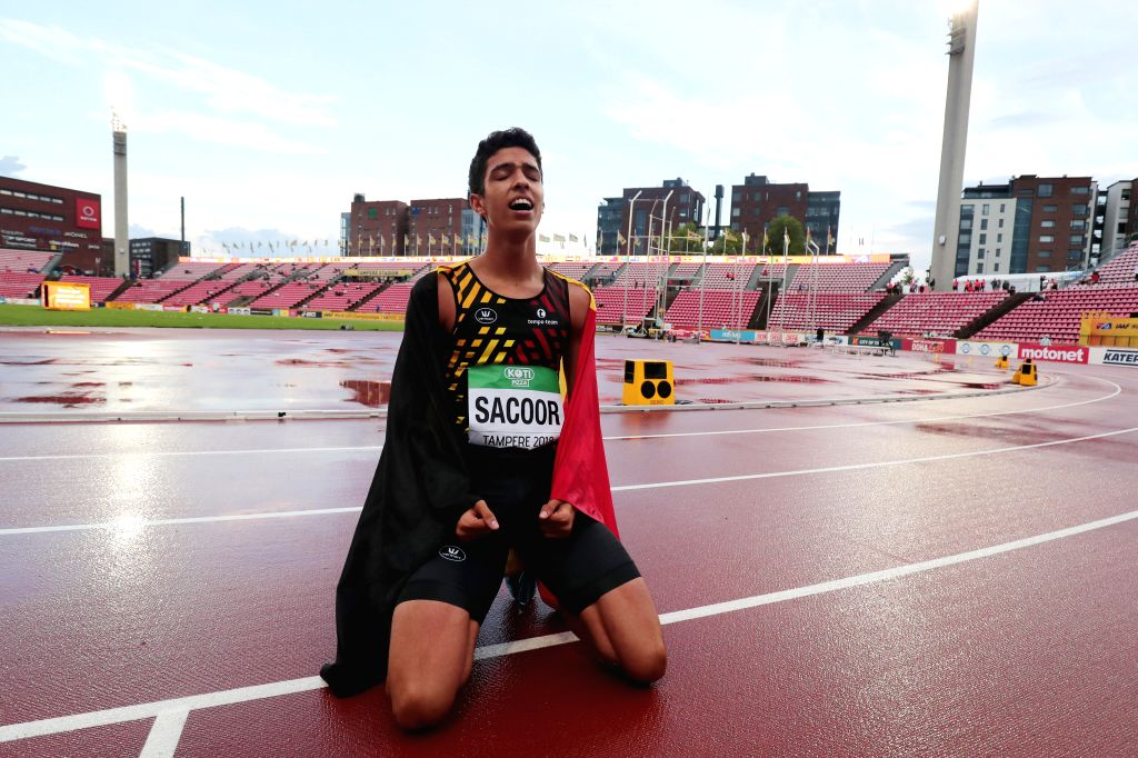 TAMPERE, July 14, 2018 - Jonathan Sacoor of Belgium celebrates after winning men's 400 meters at the IAAF World U20 Championships in Tampere, Finland on July 13, 2018. Sacoor won the gold medal with ...
