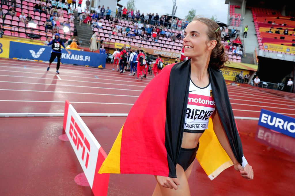 TAMPERE, July 14, 2018 - Lea-Jasmin Riecke of Germany celebrates after the women's long jump at the IAAF World U20 Championships in Tampere, Finland on July 13, 2018. Riecke won the gold medal with ...