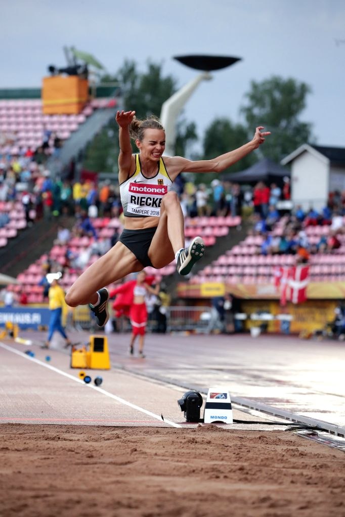 TAMPERE, July 14, 2018 - Lea-Jasmin Riecke of Germany competes during the women's long jump at the IAAF World U20 Championships in Tampere, Finland on July 13, 2018. Riecke won the gold medal with ...