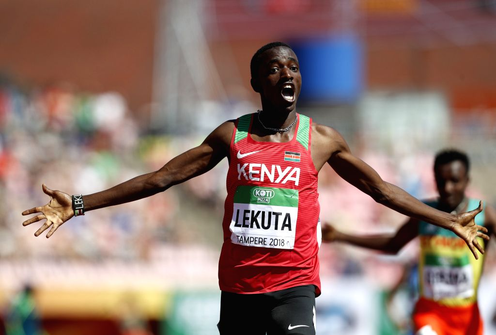 TAMPERE, July 16, 2018 - Solomon Lekuta of Kenya competes in Men's 800 Meters Final at the IAAF World U20 Championships in Tampere, Finland on July 15, 2018. Solomon Lekuta won the gold medal with 1 ...
