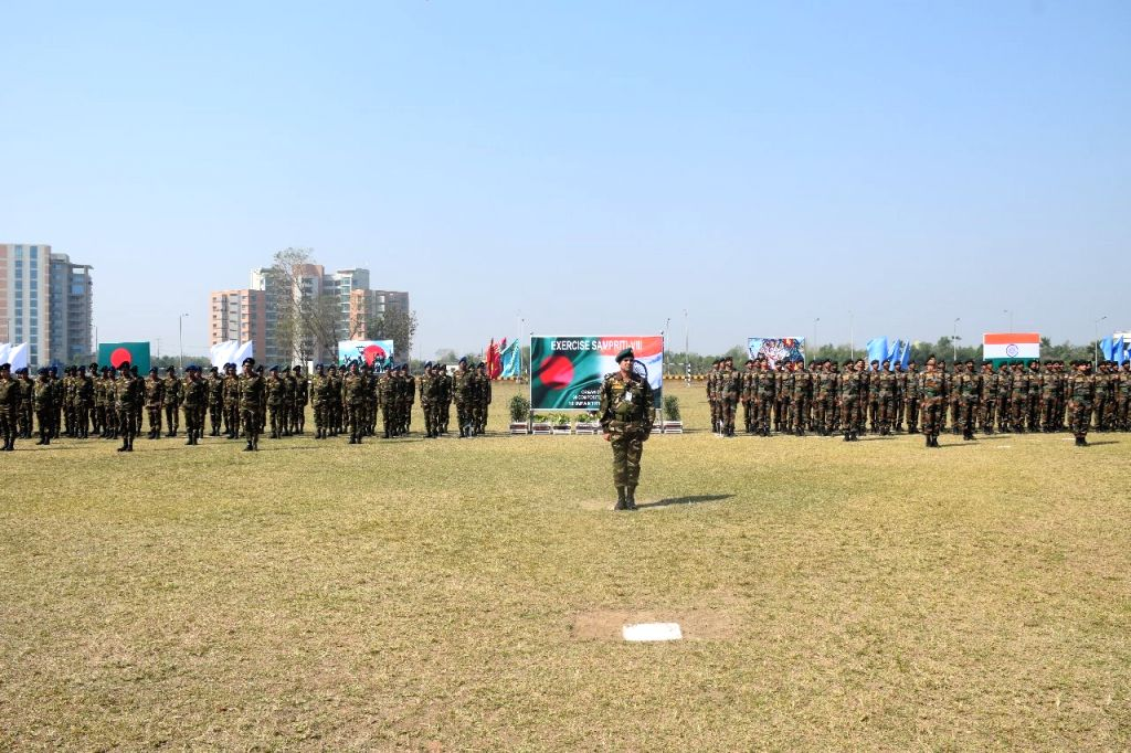 "Tangail: Indian's 9th Battalion of the Rajputana Rifles and Bangladesh's 36 East Bengal Battalion participate during the eighth edition of the exercise ""Sampriti"" at the Bongobondhu Cantonment in Tangail, Bangladesh on March 3, 2019. (Photo: IANS)"