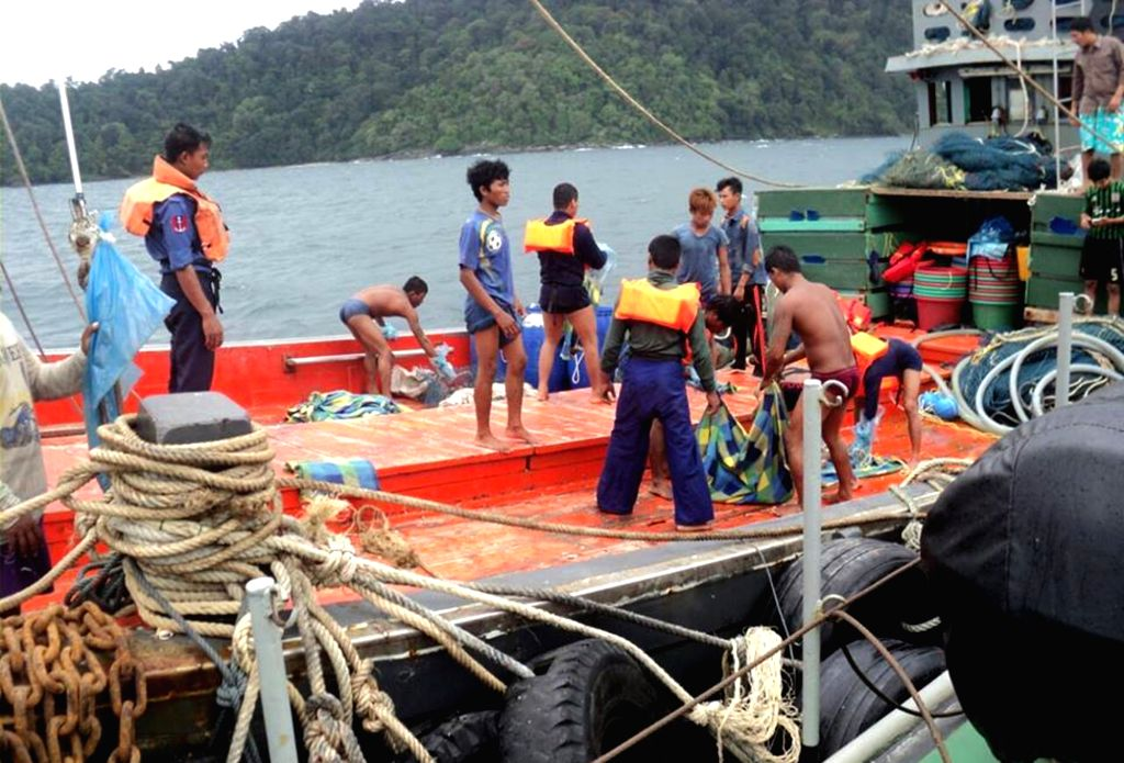 TANINTHARYI, June 8, 2017 - Rescuers prepare to searching missing people in the sea of the west of Kyauk Ni Maw and southwest of Laung Lone of southern Tanintharyi region, Myanmar, June 8, 2017. ...